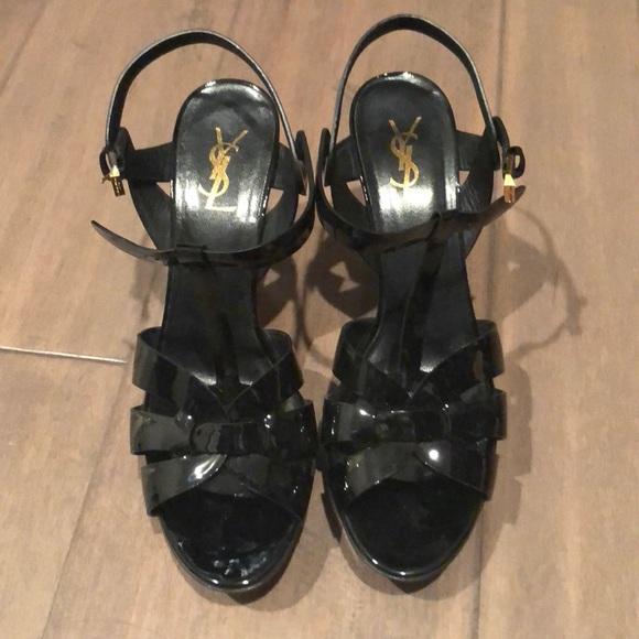 920035d8049 Yves Saint Laurent Shoes | Ysl Tribute 41 Black Patent Low Heel ...
